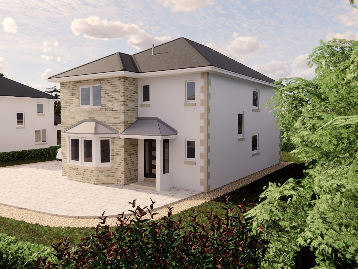 exterior view of The Linhope 4 bedroom detached house for sale Village Meadows Lowick Northumberland