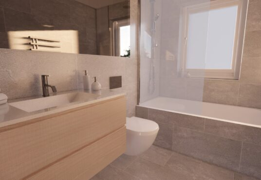 Family bathroom Village MEadows wall hung vanity and thermostatic shower