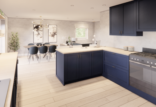 Kitchen with view of dining and living area in open plan room