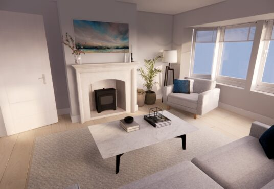 Formal Living Room in Village Meadows Lowick with wood burnng stove