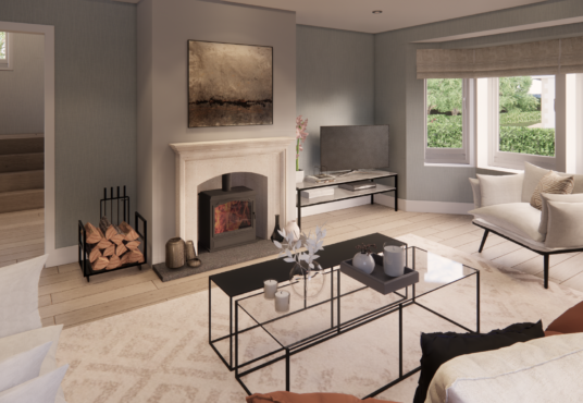 Lounge with wood burning stove in stone fire surround