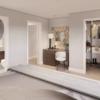 View from Master bedroom of En-suite, walk in wardrobe and dresser nook