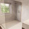 Large en-suite with walk in shower and wall hung vanity unit with integrated storage