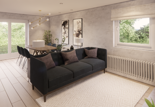 Living area of open plan space at Village MEadows Lowick modern four bedroom homes for sale