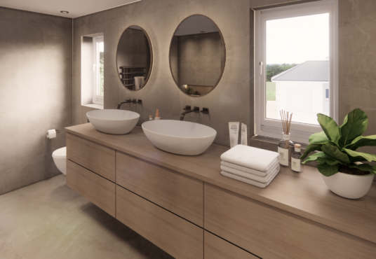 Large family bathroom with double sinks , bath and separate shower