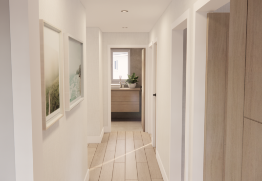 First floor hallway leading to bedrooms family bathroom and study