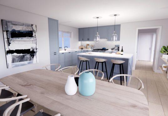 Open plan view of luxury modern detached home Village Meadows Lowick