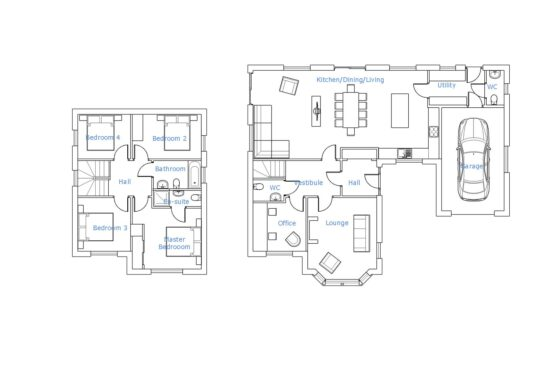 Floorplan with room labels of The Harthope 4 bedroom house for sale Village Meadows Lowick Northumberland