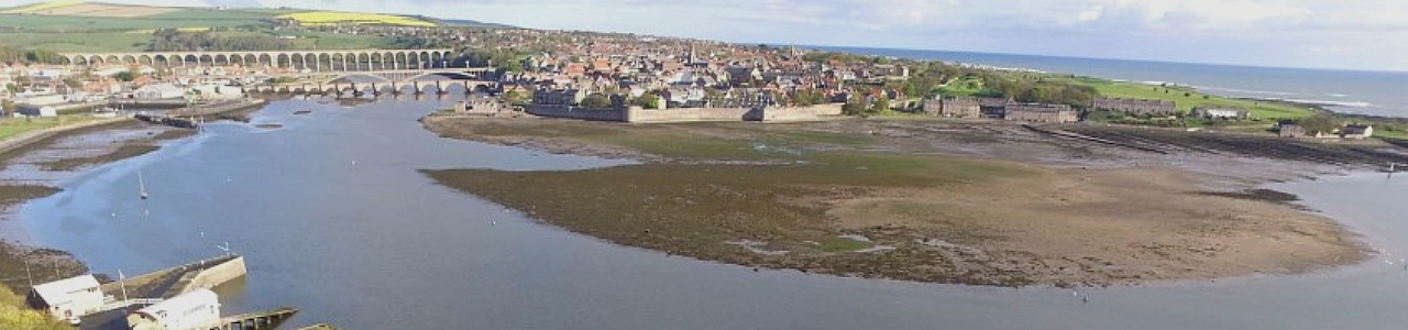 View of Historic Berwick skyline and Spittal Sand banks