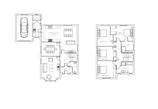 Floorplan with room labels of The Linhope 4 bedroom house for sale Village Meadows Lowick Northumberland