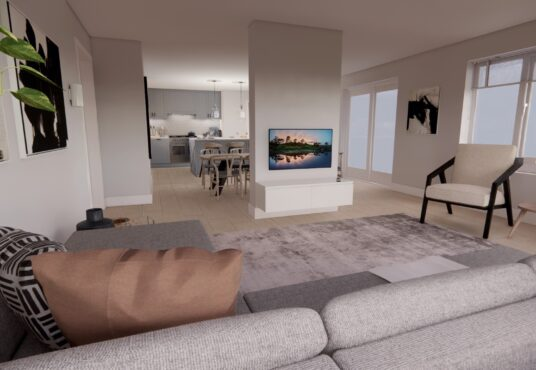 Open plan living room view of The Harthope Village Meadows Lowick 4 bedroom detached house for sale